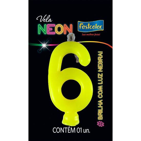 Vela N° 6 Amarelo Neon - 1 Unidade