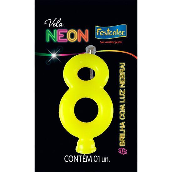Vela N° 8 Amarelo Neon - 1 Unidade