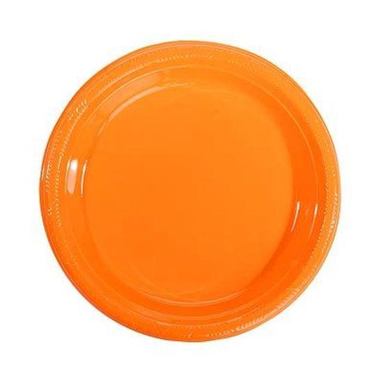 Prato Plástico 22cm Colorline Laranja - 10 Un