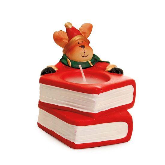 Vela Formato Livro com Rena Vermelho (Luz de Natal)
