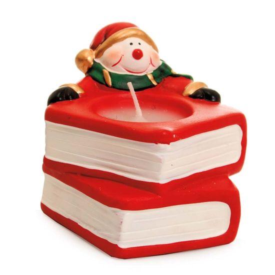 Vela Formato Livro com Boneco de Neve Vermelho (Luz de Natal)