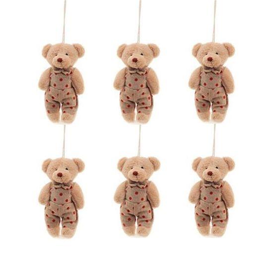 Urso em Pé com Poá Bege e Vermelho (Patchwork Vermelho) - 6 Un