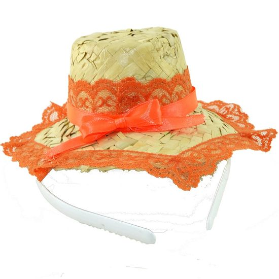 Tiara Chapéu de Palha Decorado - Para Festas