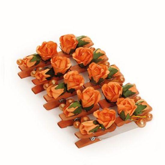 Prendedor Floral Suave Pérola Laranja 6 cart c/ 10 unids