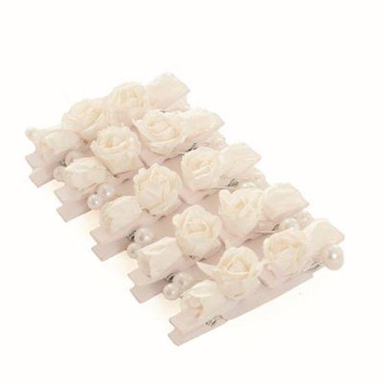 Prendedor Floral Suave Pérola Branco 6 cart c/ 10 unids