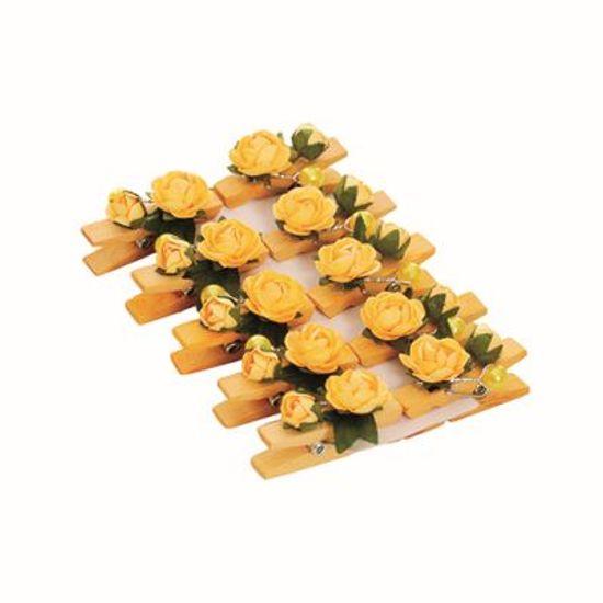 Prendedor Floral Petit Duplo Pérola Amarelo 6 cart c/ 10 unids