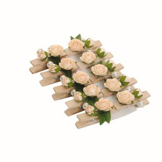Prendedor Floral Petit Duplo Pérola Cru - 06 Cartelas com 10 Un