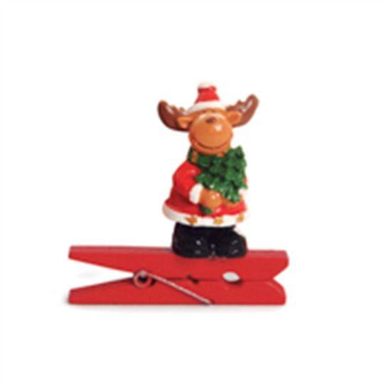 Prendedor Rena 3D Vermelho (Mini Adesivos e Prendedores) - 6 Peças
