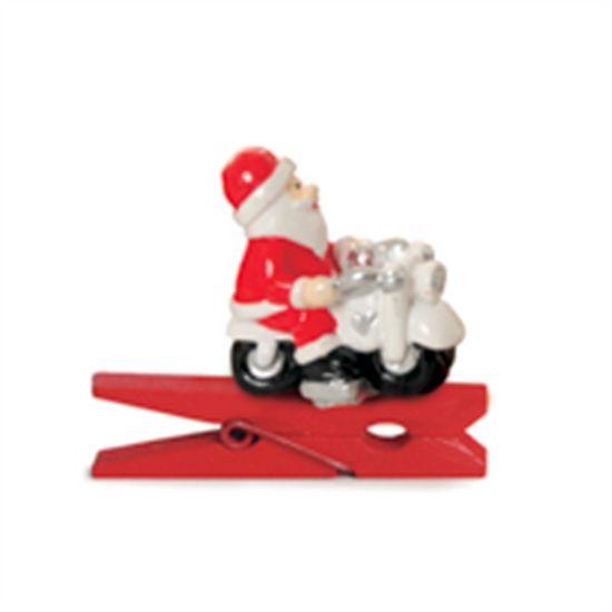 Prendedor Papai Noel Moto 3D Vermelho (Mini Adesivos e Prendedores) - 6 P