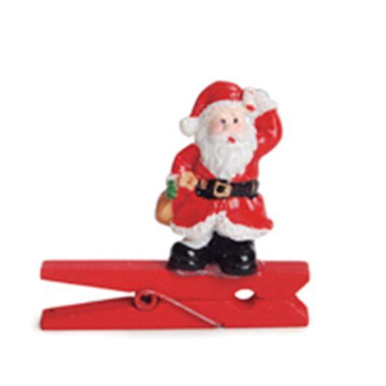 Prendedor Papai Noel Presente 3D (Mini Adesivos e Prendedores) - 6 P