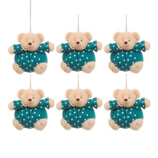 Urso Redondo Roupa Poá Azul e Branca (Patchwork Color) - 6 Un