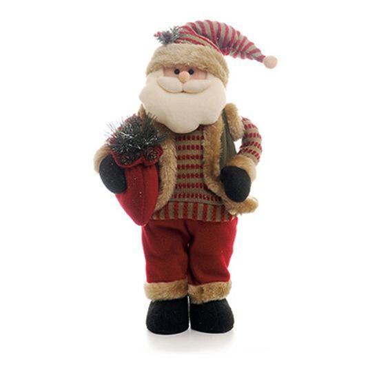 Papai Noel Vermelho Marrom Pequeno em Pé c/ Saco de Presente