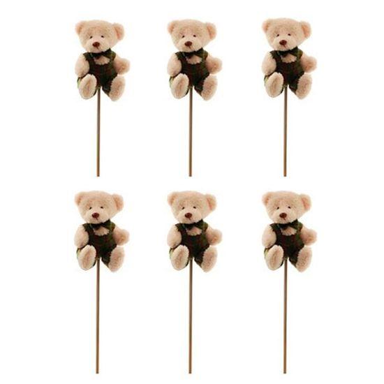 Pick Urso com Macacão Listrado Verde (Patchwork Color)  - 6 Unidades