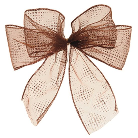 Laços Artesanais - Marrom com Pontinhos Glitter - 18 cx com 3
