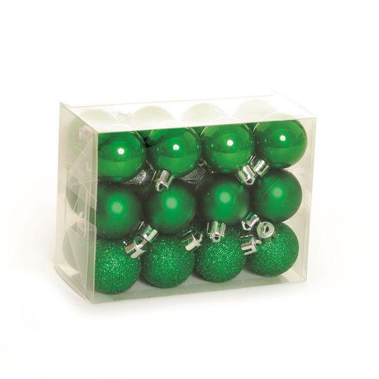 Bola de Natal Fosca, Glitter, Brilho Verde (Bola de Natal em Tubos) - Jogo com 24 Peças