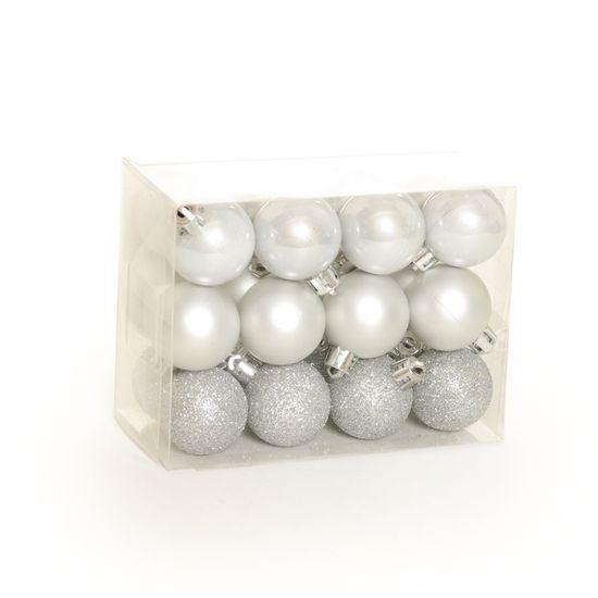 Bola de Natal Fosca, Glitter, Brilho Prata (Bola de Natal em Tubos) - Jogo com 24 Peças