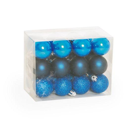Bola de Natal Fosca, Glitter, Brilho Azul (Bola de Natal em Tubos) - Jogo com 24 Peças