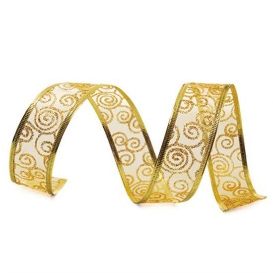 Fita de Natal Voal Caracol Glitter Ouro 3,8cm (Fita para Presente) - 3 Unidades