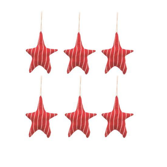 Estrela com Listras Vermelho (Patchwork Vermelho)  - 6 Unidades