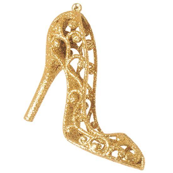 Enfeites - Sapato com Glitter Ouro - JG com 4 un