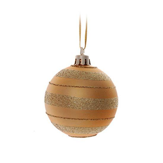 Bolas de Natal - Listras Glitter Ouro (6cm) 06 unidades