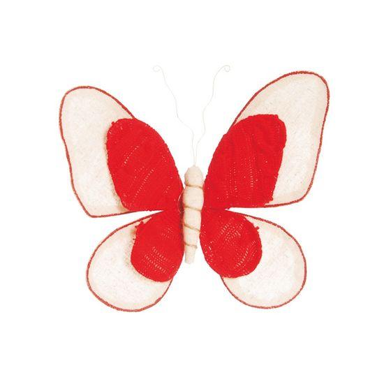Borboleta Marfim e Vermelho Tamanho M (Borboletas) - 1 Unidade