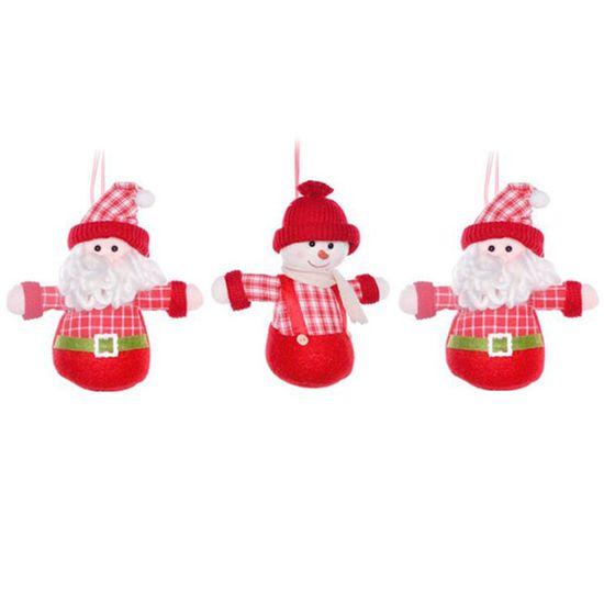 Mini Boneco Noel e Boneco de Neve Vermelho e Verde Bandeira (Cinnamon) - 3 Un