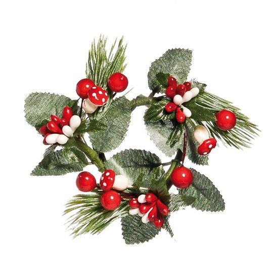 Mini Guirlanda de Natal Folhas / Cogumelo Verde Bandeira e Vermelho (Magic Forest) - 1 Un