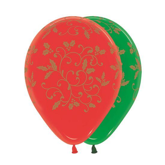 Balão Látex Impressão 360 Cristal Composê Filigree Nat R12 - 50 Unidades