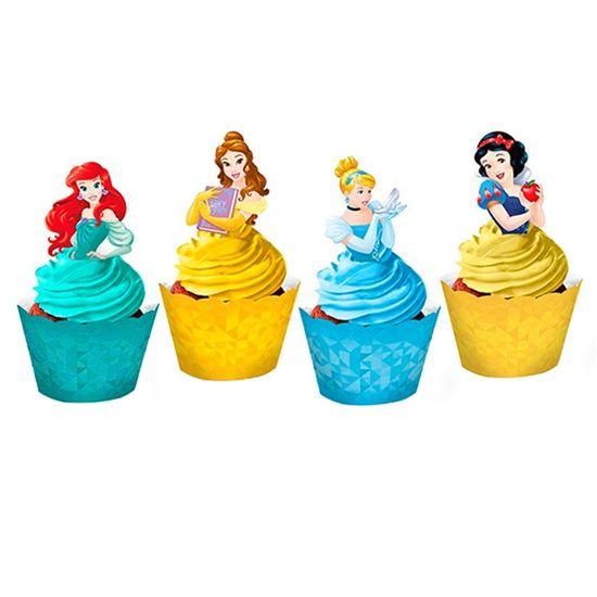 Festa Princesas Disney - Cupcake Wrapper com Enfeite Princesas Amigas - 12 Un