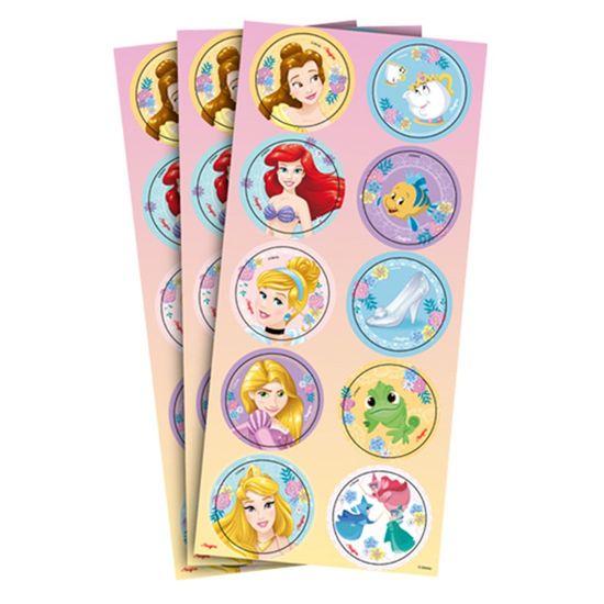 Festa Princesas Disney - Adesivo Decorativo Redondo Jardim das Princesas - 3 Un
