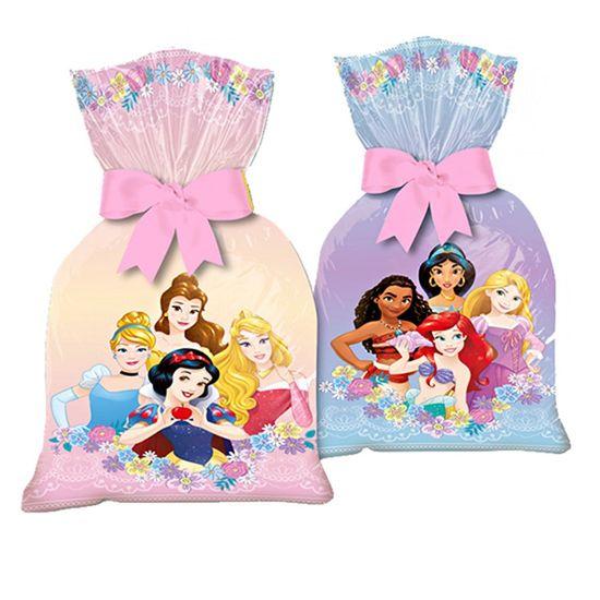 Festa Princesas Disney - Sacola Plástica de Lembrancinha Jardim das Princesas - 8 Un