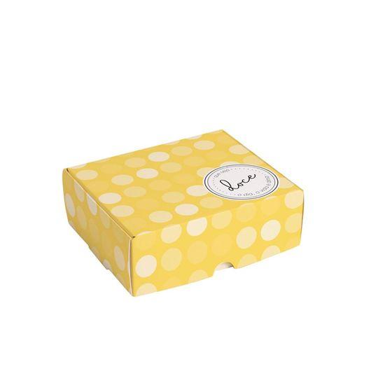 Caixa para 4 Brigadeiro Que Seja Doce Amarelo 9X9X4,5 - Pacote com 10 Unidades