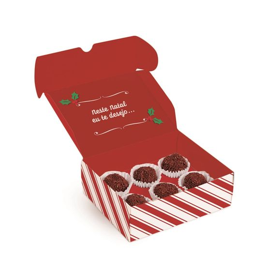 Caixa para 4 Brigadeiro Feliz Natal 9X9X4,5 - Pacote com 10 Unidades