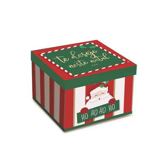 Caixa Surpresa para Brigadeiro Feliz Natal 13,7X13,7X10 com 10 Unidades