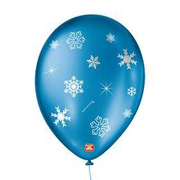 Balao-de-Festa-Latex-Decorado-Floco-de-Neve---Azul-Cintilante---25-Un-