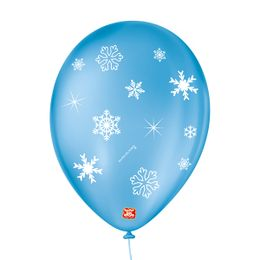 Balao-de-Festa-Latex-Decorado-Floco-de-Neve---Azul-Turquesa---25-Un